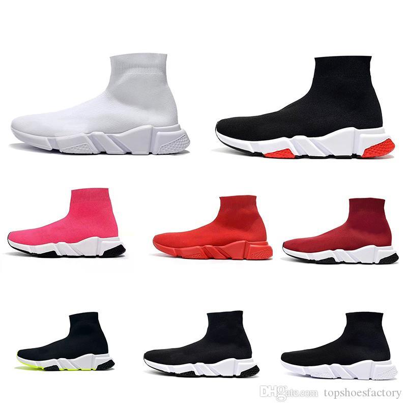 أحذية 2019 أزياء مصمم أحذية رياضية سرعة مدرب أسود أحمر جيبسوفيلا الثلاثي الأسود الأزياء شقة سوك أحذية عادية سرعة المدرب عداء