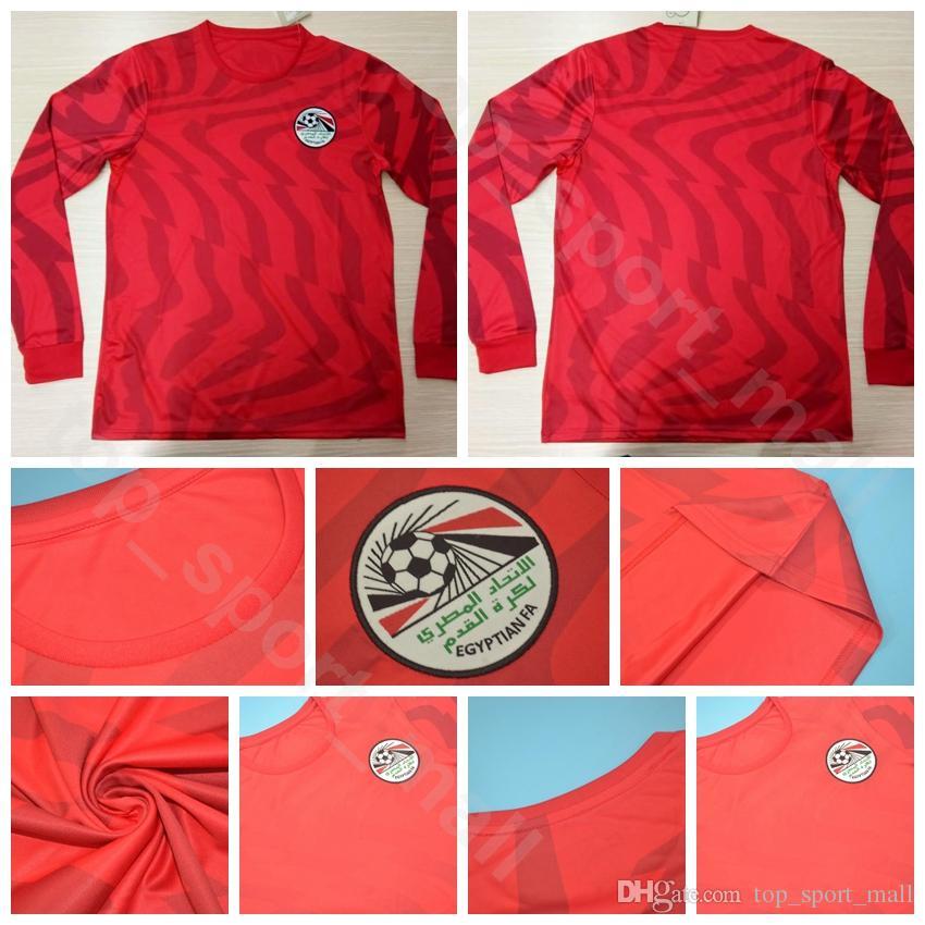 Erkekler Mısır Uzun Kollu Futbol 11 ELNENY Jersey 10 Mohamed Salah 7 TREZEGUET 11 KAHRABA 7 FATHY Futbol Gömlek Kitleri Üniforma 2019 2020