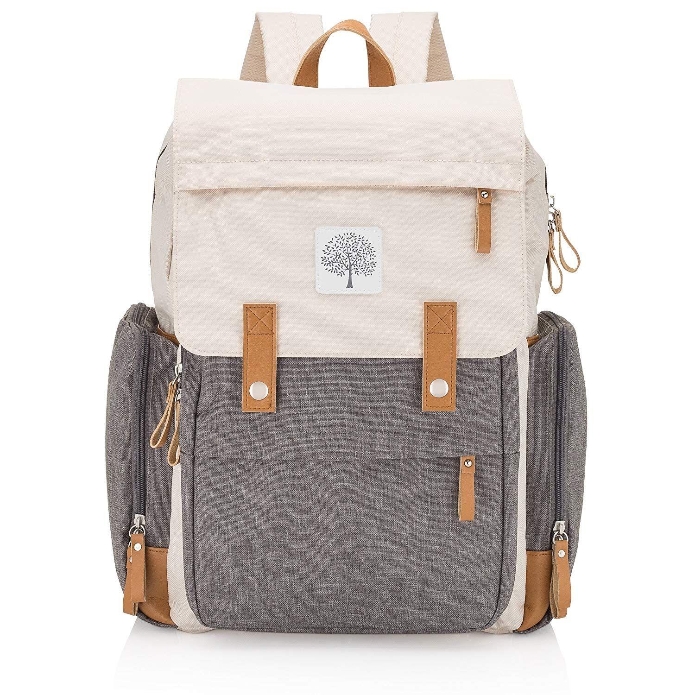 Elegante e prático bebê fralda mochila grande fralda saco com bolsos isolados Stroller Straps e mudando Pad