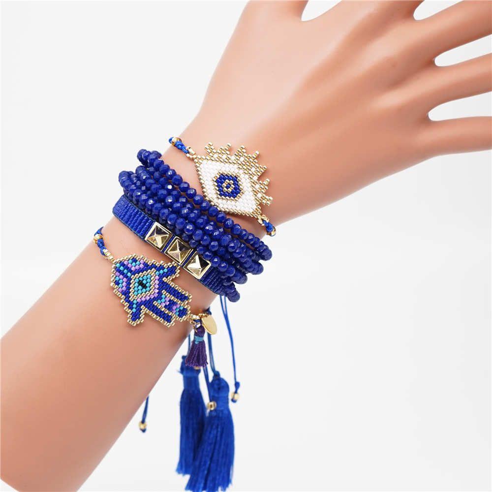 Miyuki braclets gioielli malocchio per le donne corona hamsa braccialetto bohemien braccialetto personalizzato femme sottili braclets linea blu