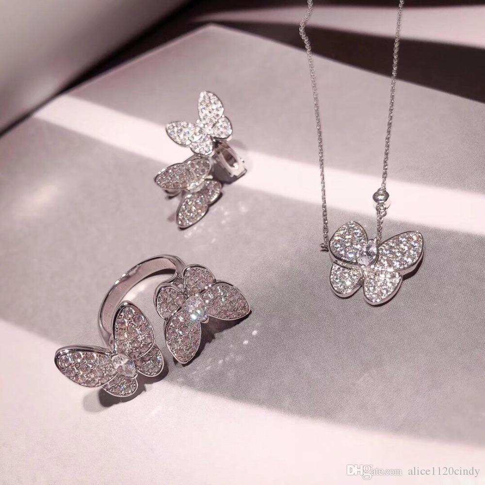 Bague mode boucles d'oreilles cz clip papillon cristal de diamant zircon collier pendentif ensemble pour les femmes hommes argent 925 Hip Hop Rock Bijoux