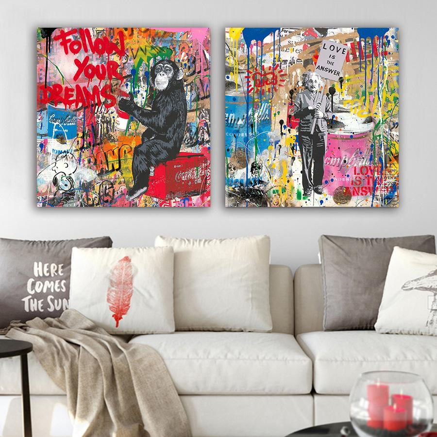 BANKSY LIFE IS BEAUTIFUL GRAFFITI CANVAS PRINT PICTURE WALL ART 30 X 20 INCH