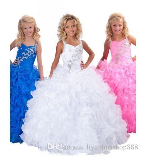 Girls PageanT Ritzee Girls Glitzy Kids Цветочная вечеринка Вечерние платья выпускного вечера Бальное платье длиной до пола 2019 Лето Новое прибытие