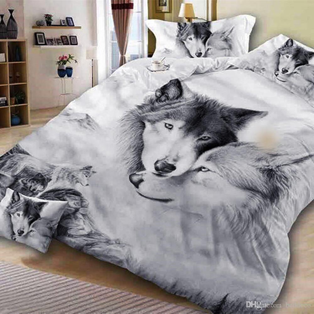 Пара Wolf Пододеяльник Single Романтический Классический High End пододеяльник Queen Size King Полный номер кровать Обложка с наволочкой