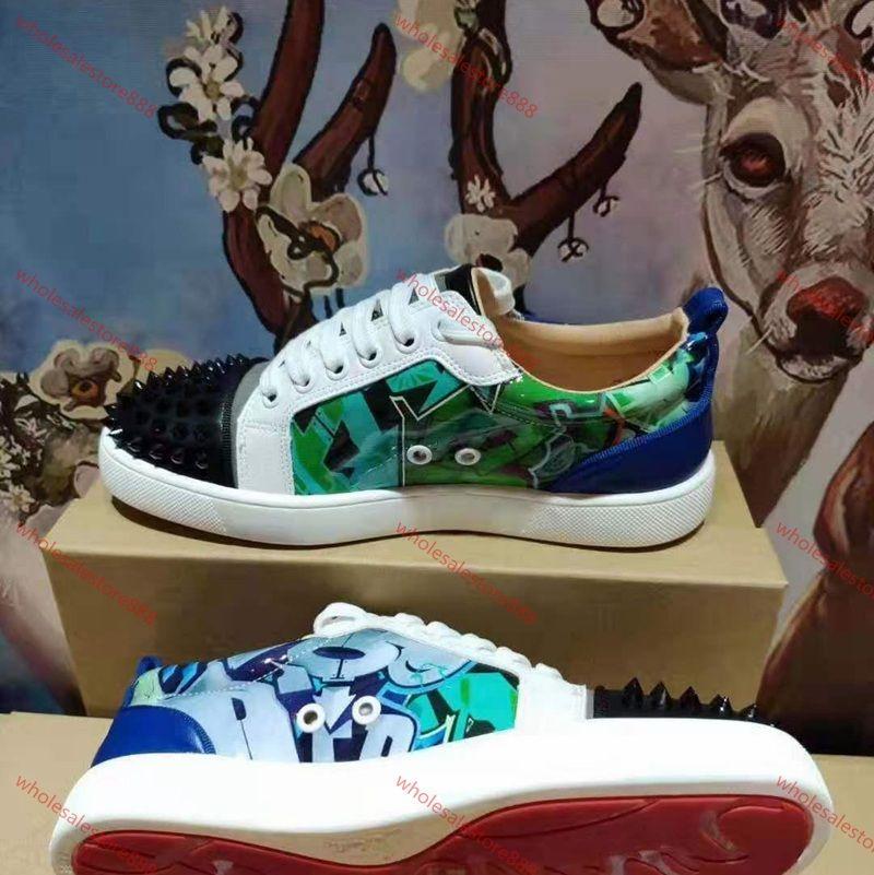 Chaussures Louboutin inferior escotados ante de pico Lusso zapatos para hombres de cuero y zapatos de mujer de cristal de fiesta de la boda la zapatilla de deporte