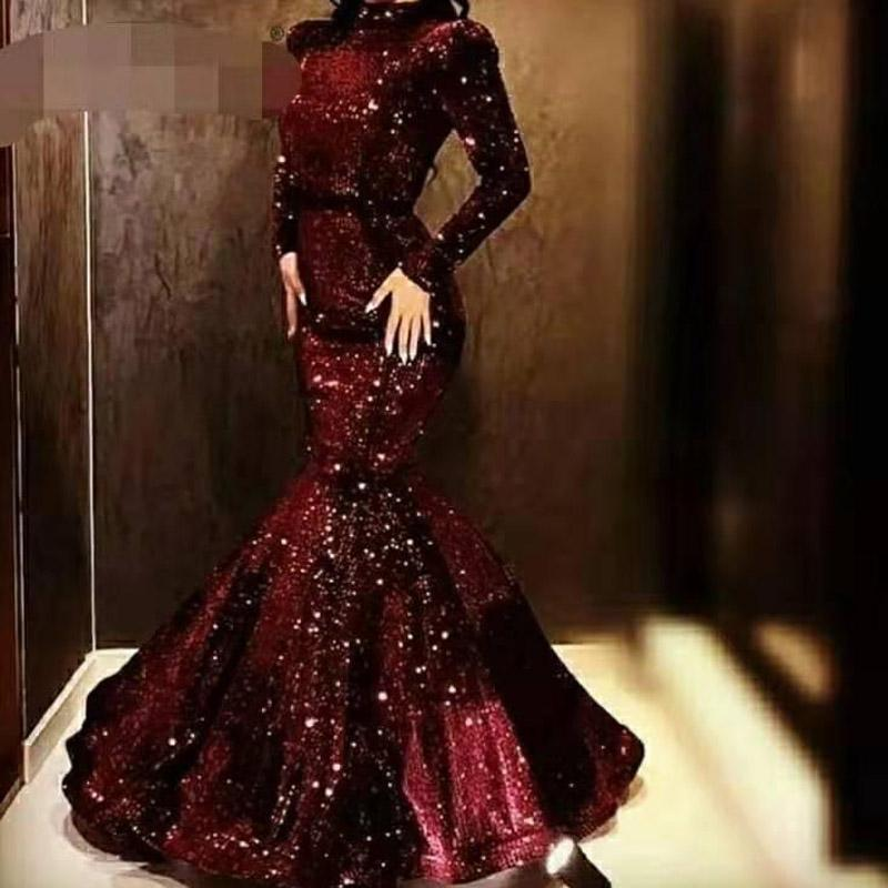 2020 Classic Evening Wear Long Sleeves Sequined Prom Dress Long Pleats Cheap African Party Gowns Vestidos