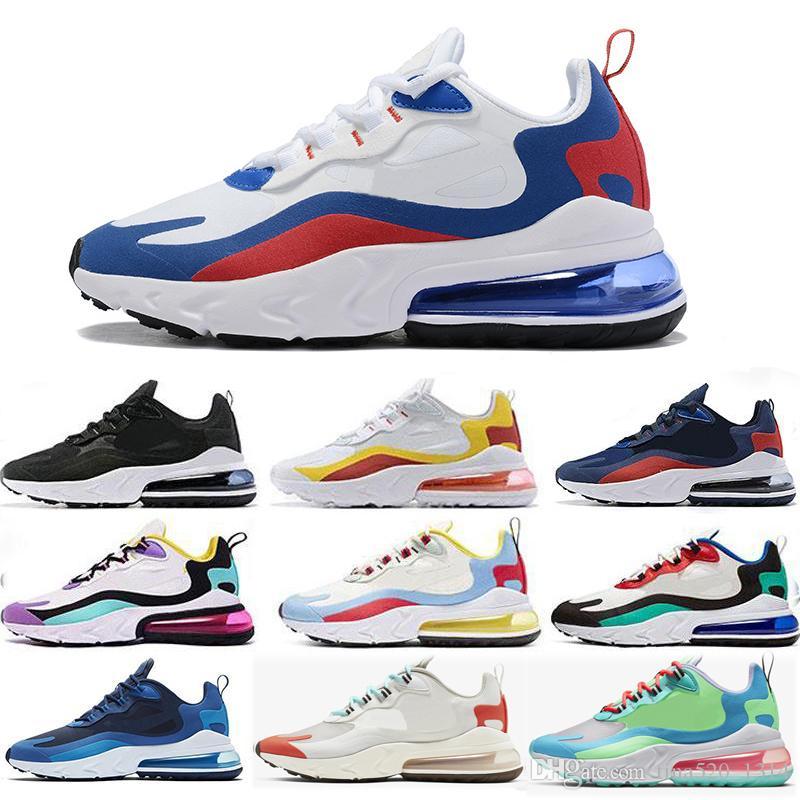 Nike Air Max 270 React الجملة 2019 رد فعل الرجال BAUHAUS OPTICAL الأزرق VOID الثلاثي الأسود المعزوفة البيضاء النساء مصمم تينيسي الرياضة في الهواء الطلق المدربين Zapatos حذاء حجم 13