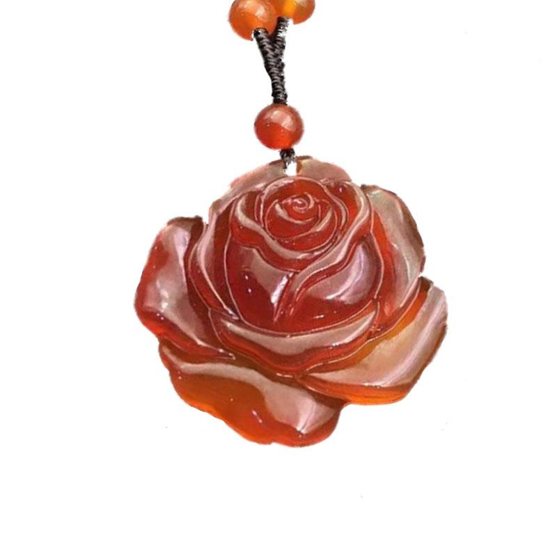 Natural Brazilian red agate rose pendant necklace, jade marrow, sweater chain, necklace, and jade decoration.