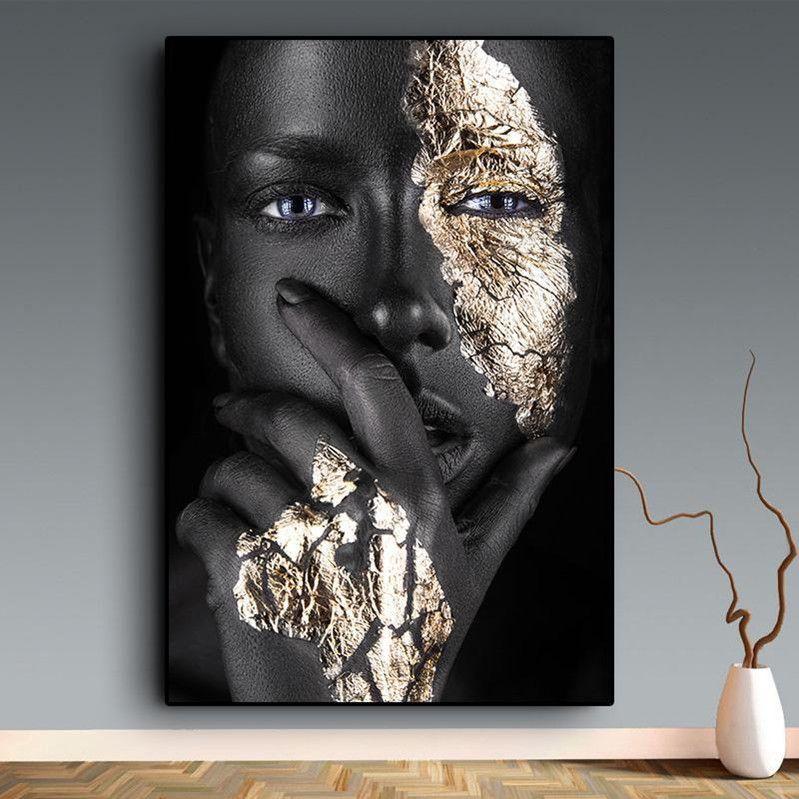 Kunst Black and Gold Frauen-Ölgemälde auf Leinwand Cuadros Poster und Drucke Scandinavian Wall Art Bild für Wohnzimmer
