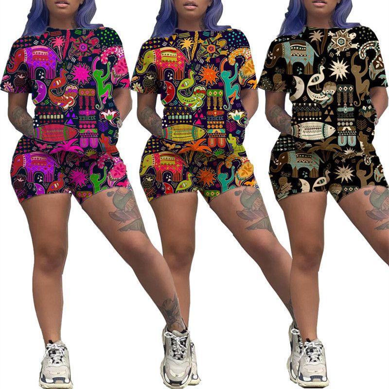 Мода Женщины Шорты Две пьесы установить костюмы животных Печать Hawai Стиль Короткие рукава футболки + шорты женщин Костюмы Костюм летний Одежда