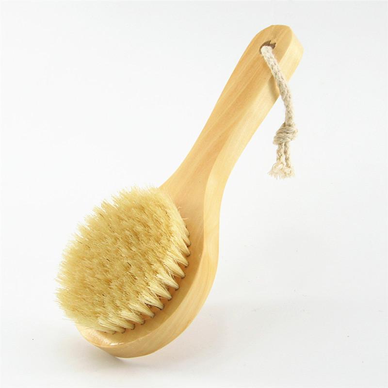 20 * 8cm manico corto Cinghiale setole Bagno Pennello a secco Pelle pennello Corpo in legno naturale Togli Morto pelle secca spazzolatura spazzola per il corpo