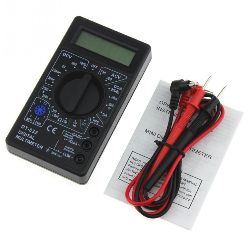 Professional DT832 Digital Multimeter LCD DC AC Voltmeter Ammeter Ohm Tester AC/DC Voltage Digital Ampere Meter Test