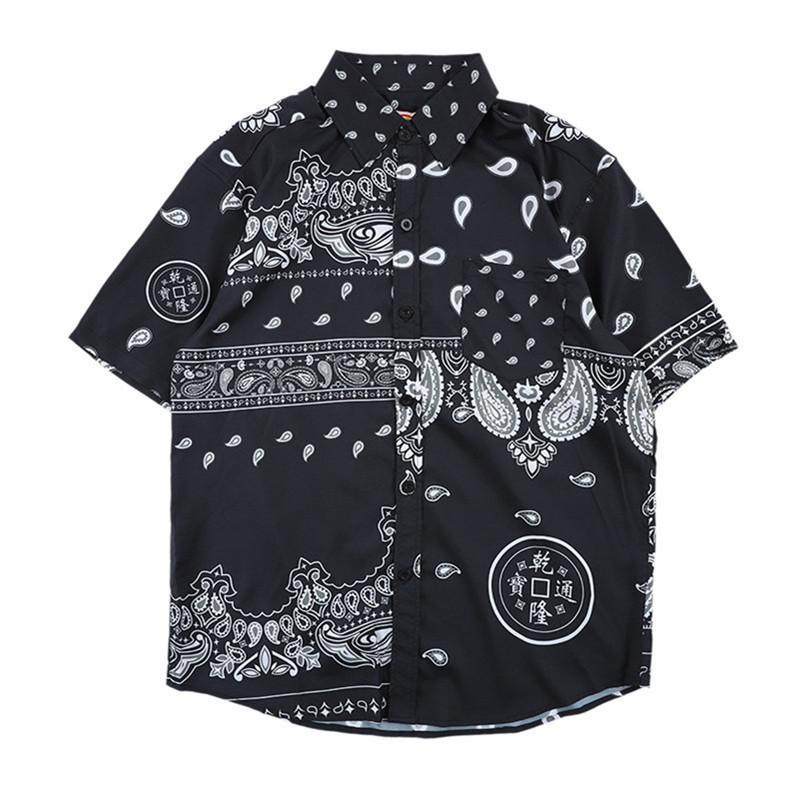 19 verano nueva grúa de hombre de estilo chino Impreso Manga corta Camisa Prendas para el torso grandes Siz