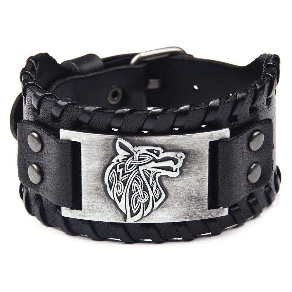Herren Wolf-Kopf breite Lederarmband Legierung Geflecht Armband Leder-Armband-Hand Stulpeschmucksachen Punk Style Peresonalized