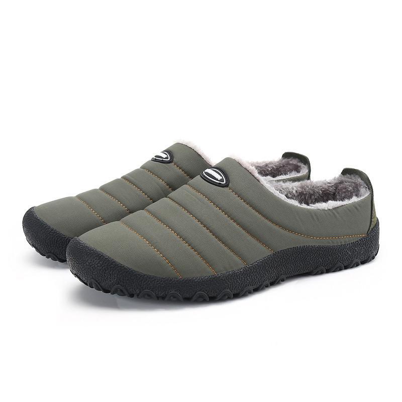 Winter Men Shoes Plush Men Slippers Fleece Warm Fur Thicken Cotton-Padded Home Slipper Indoor Flat Shoes Plus Size Flip Flops
