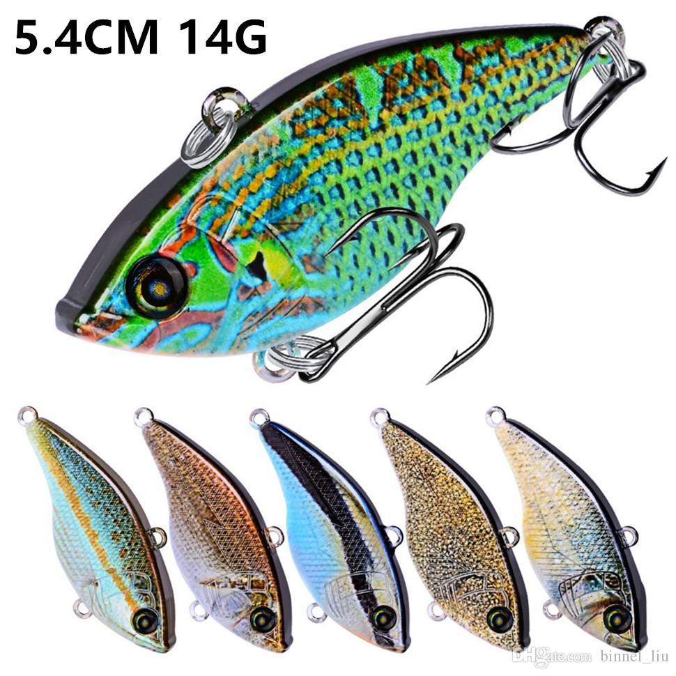 10 Color 5.4cm 14g VIB Fishing Hooks Fishhooks 8# Hook Hard Baits & Lures Fishing Tackle B-003