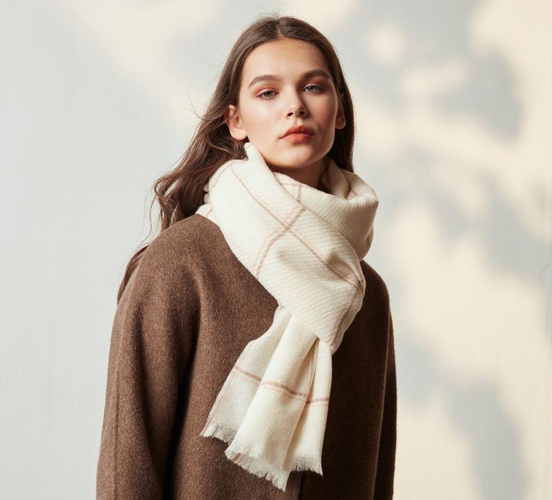 أوروبا وأمريكا أزياء الدافئة والأوشحة الطويلة غطاء المتضخم ترتان التفاف شال المرأة الكشمير الشتاء مزيج من الصوف الناعمة الدافئة وشاح منقوشة