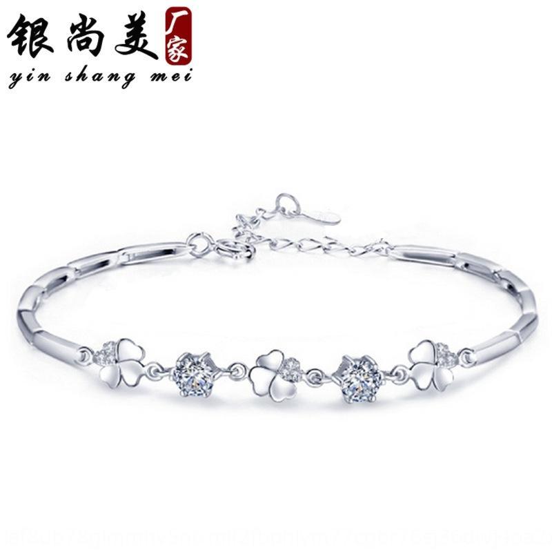 925 trevo das mulheres cravejado de diamantes de jóias bracelete de diamantes rotativa banhado de quatro folhas pulseira de amor prata banhado bzGtA