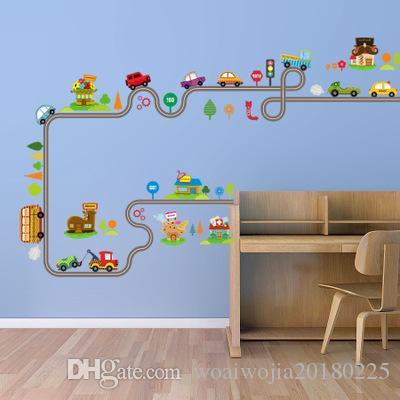 20190621 novo composto adesivos de parede dos desenhos animados dos desenhos animados dos desenhos animados cidade pequena das crianças quarto jardim de infância adesivo de parede