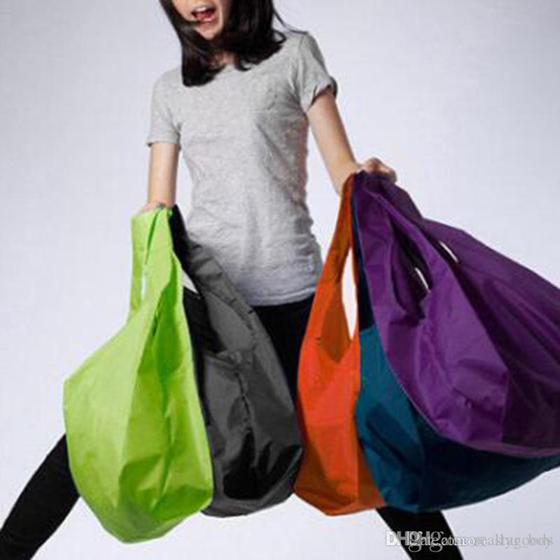Portable Folding Shopping Bags Pure Color Lightweight Large Nylon Bag Thick Bag Foldable Waterproof Ripstop Reusable Handbag For Shopping
