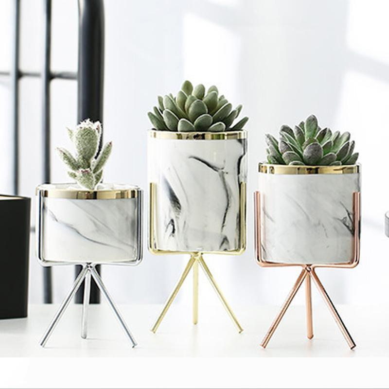 Nordic Ceramic Iron Art Vase Marble Pattern Rose Gold Silver Tabletop Green Plant Flower Pot Home Office Vases Decorative Q190529