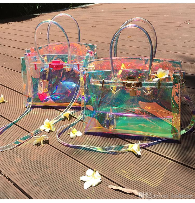 Top selling Designer fashion Tote Girl Handbags Bolsas Pink Jelly Shoulder Bag Transparent Hologram Laser Messenger Bag Women Female Harajuk