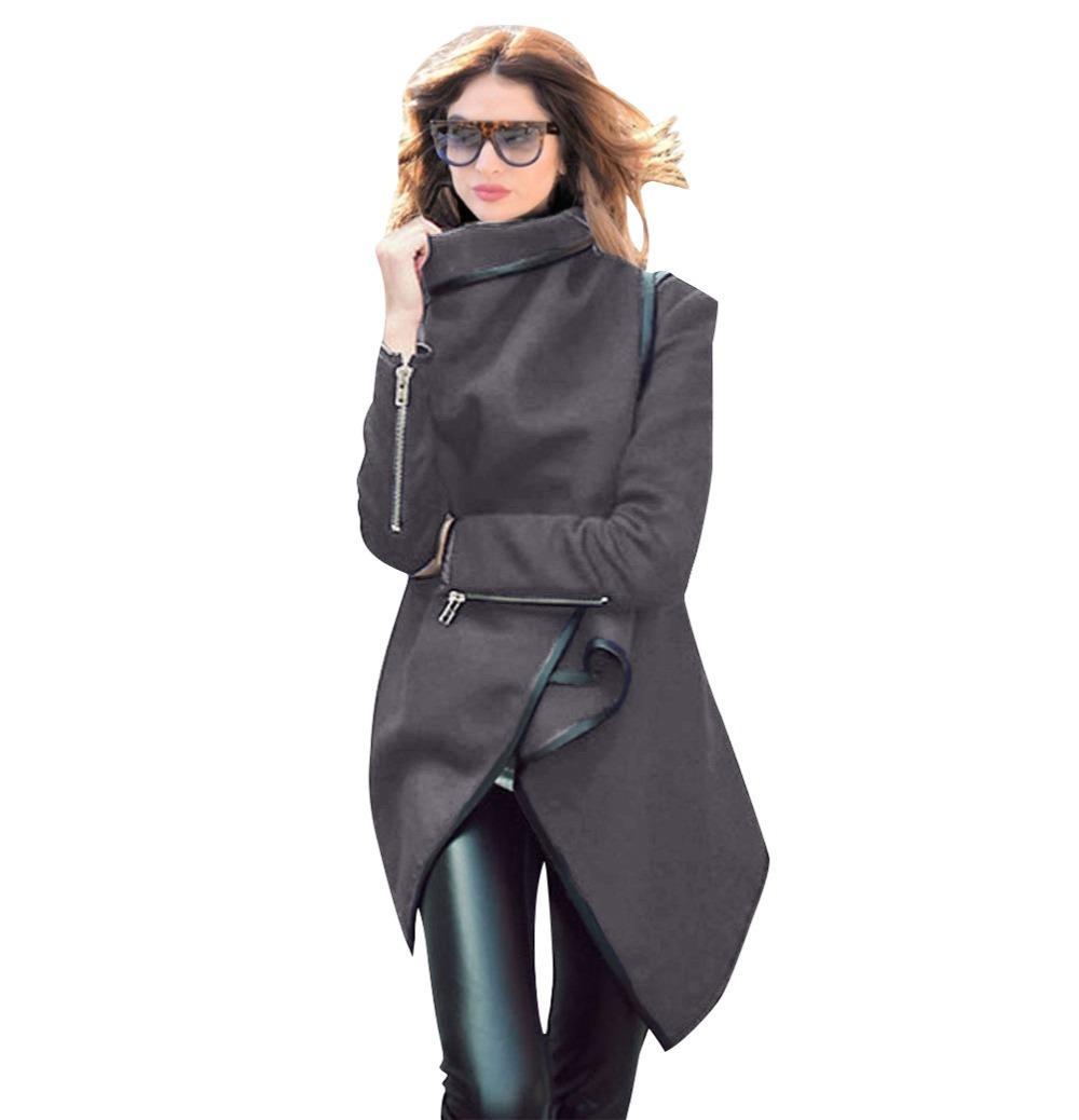 Estilo punk 2019 Otoño Invierno Mujer Gabardina Irregular Slim Lana Abrigo Outwear Cardigans de lana Femme Mid-Length Wrap Collar