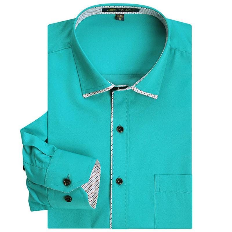 Moda Erkekler Resmi elbise Gömlek Patchwork Uzun Kollu Düzenli Fit Sigara demir Yumuşak Katı Renk Erkekler Sosyal Akıllı Casual Gömlek