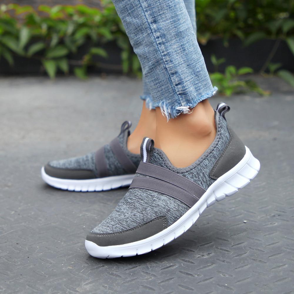2019 Scarpe moda delle donne piani della piattaforma delle signore casuali scarpe Mesh Sneaker piani della piattaforma Scarpe Donna slip on Big Size CJ191220