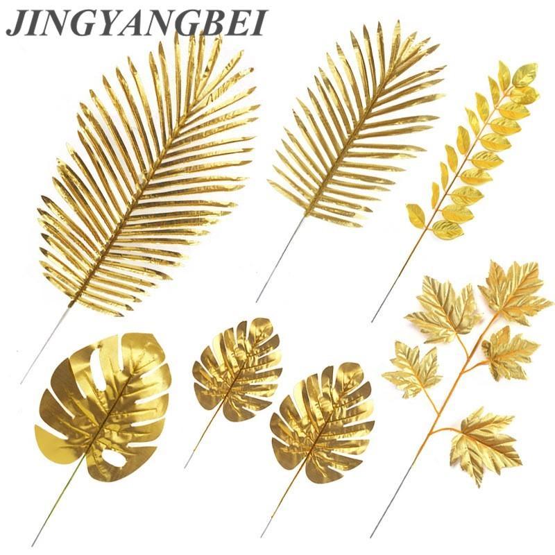 5 قطع الذهب الحرير الاصطناعي السلاحف ليف الحديد شجرة فرع الميلاد الزفاف الديكور خلفية زهرة يترك النبات فو أوراق الشجر