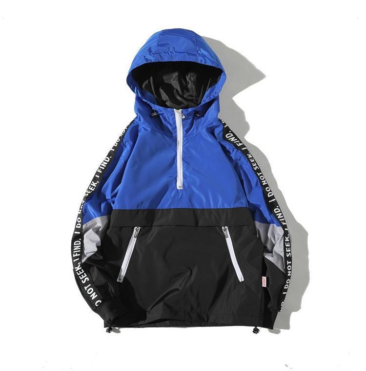 Aolamegs Куртки Мужчины Лоскутная Side Letter Куртка с капюшоном Tracksuit High Street пальто Hip Hop Мужской Streetwear Пара ветрозащитный Чудесная