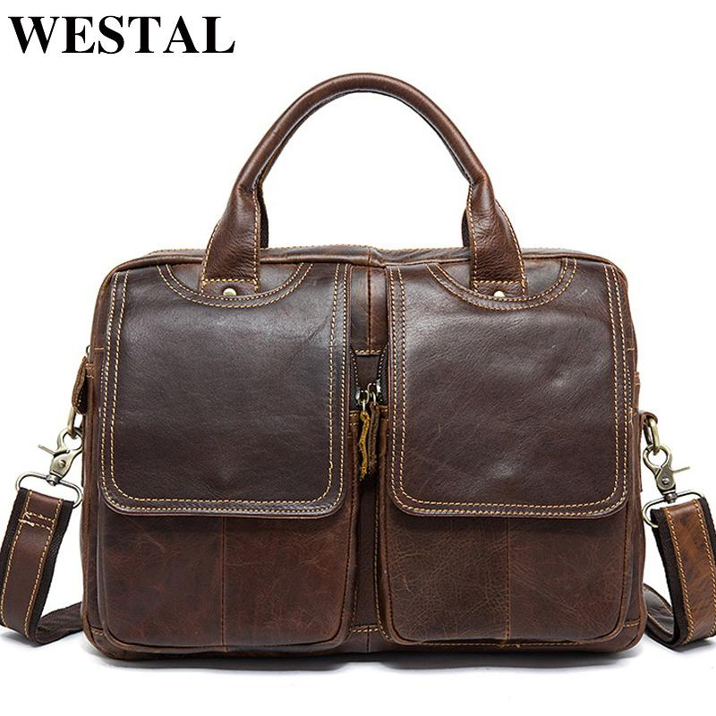 Westal Messenger Bag Men's Shoulder Bag Genuine Leather Male Bags Men's Briefcase Laptop 14'' Tote Crossbody Bags For Men 8002 Y19051502