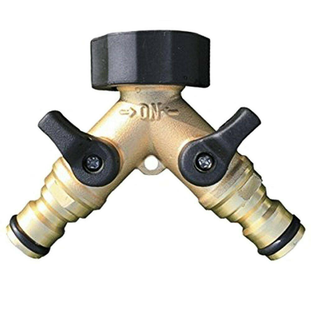 2 WAY DOUBLE GARDEN TAP HOSE ADAPTOR TWIN DOUBLE SPLITTER WATERING CONNECTOR