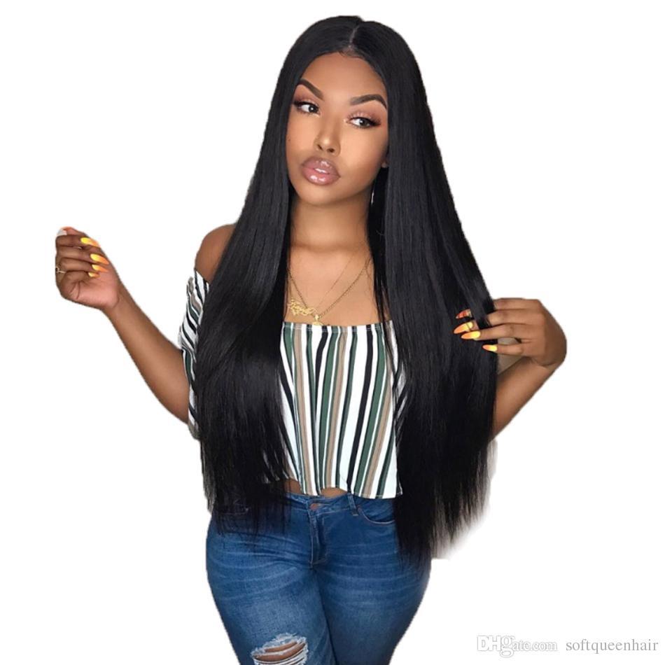 13x4 레이스 앞머리 가발은 아기 머리카락으로 뜯어 낸다 브라질 실크 스트레이트 인체 헤어 레이스 앞머리 가발 (여성용) 레이스 가발