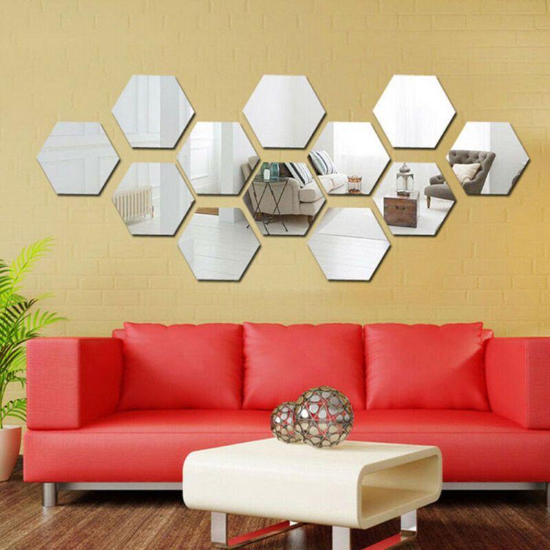 Mirror Tile Wall Sticker Square Self Adhesive Room Bathroom Decor Stick On Art
