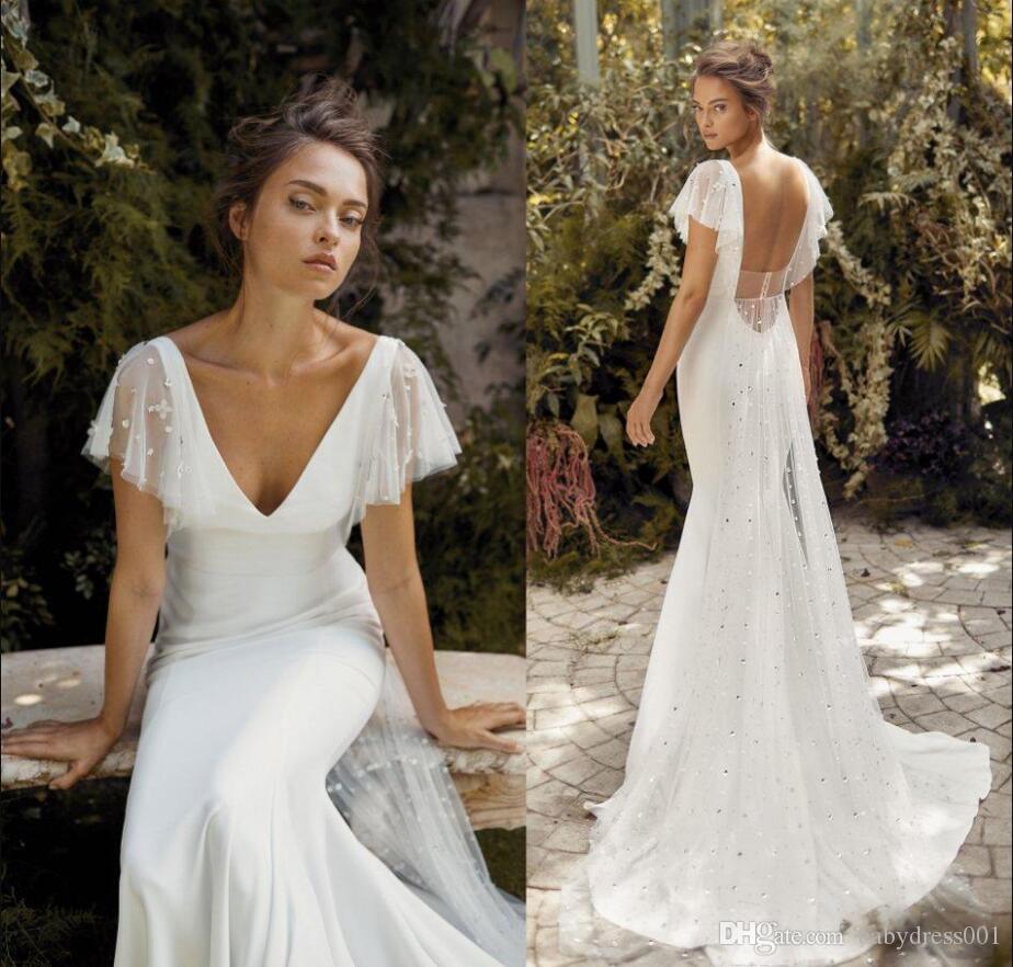 Lihi Hod Mermaid robe de mariée paillettes à manches courtes V cou à paillette sauvegine balayage robe de mariée robe de mariée robe de mariée vestidos de noiva