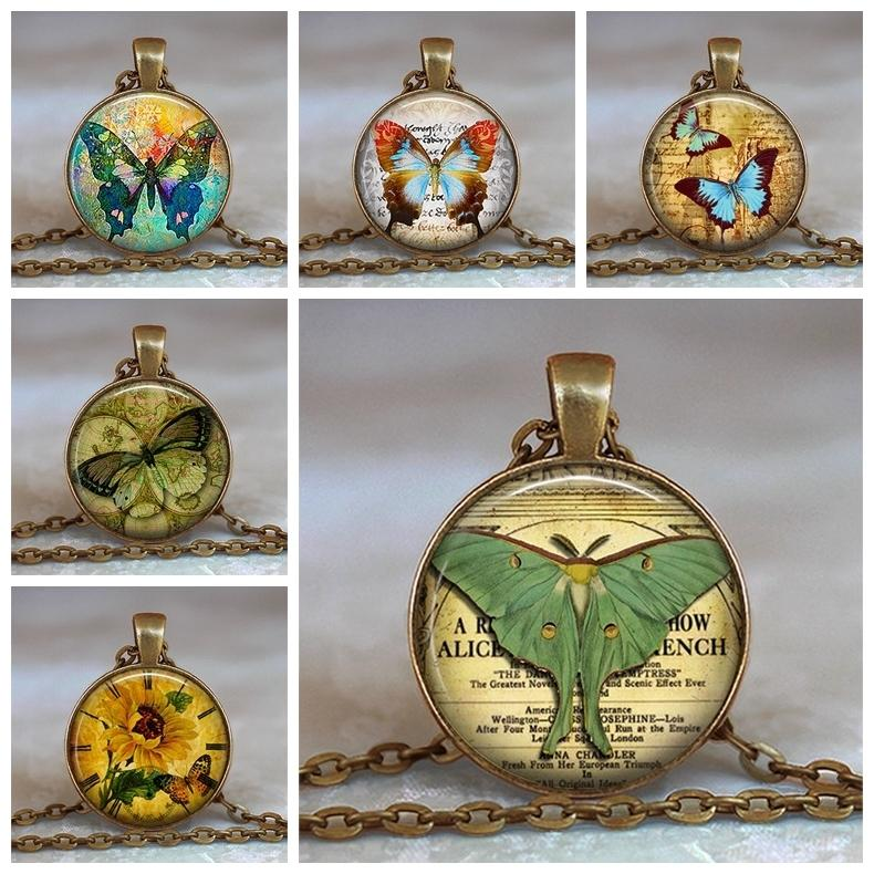 Butterfly Design 25mm 1 inch Handcrafted Antique Bronze Glass Pendant