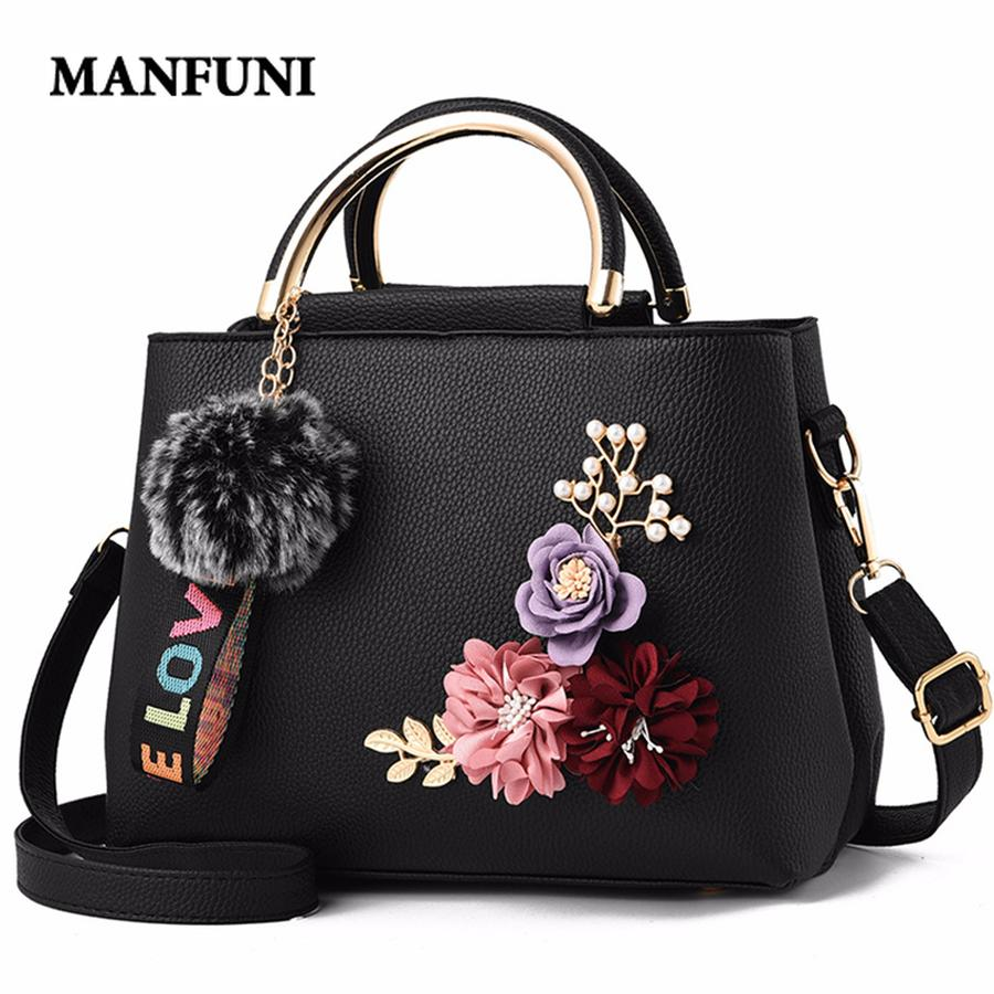 Women Bag Leather Handbag Women Shoulder Bag Tote Flowers Shell Sac A Main Femme Rivets Fur Ball Pendant Ladies