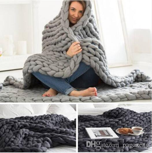 Hot Wholesales Free shipping 2019 Hot sales Chunky Knit Blanket Throw Bulky Blanket Knitting Yarn Baby Bed Chair Mat Rug