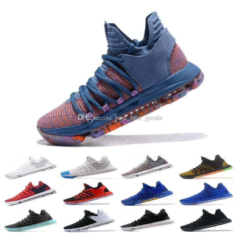 2019 Yeni Varış Ne Kd X 10 s Mavi Pembe Yeşil Spor basketbol Çocuk Ayakkabı 10 s Kalite Kevin Durant 10 Ep Atletik Sneakers