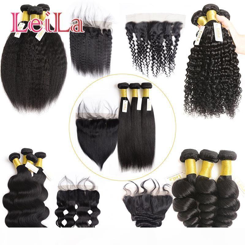 Vierge brésilienne malaisienne cheveux 13x4 dentelle Frontal Fermeture avec 3 Bundles Silky droite Pérou Vierge Cheveux non transformés avec Frontal