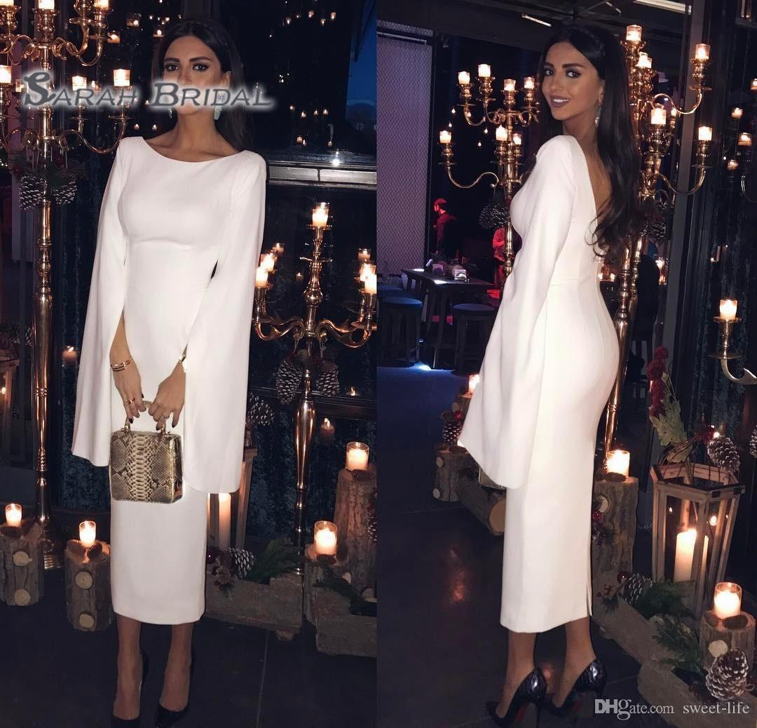 2020 Modest Saudi Arabic Long Sleeves Tea Length Mother Dress Sheath Formal Indian Wear Custom Made Plus Size Party Evening Gowns