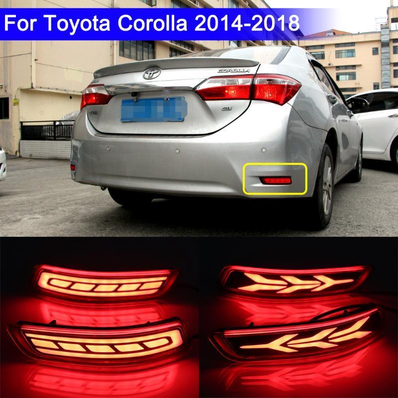 LED Pare-chocs arrière réflecteur de lumière pour corolla Altis 2014-2018, (fonction Auto-lumière, lumière de frein dynamique Tourner la lumière)