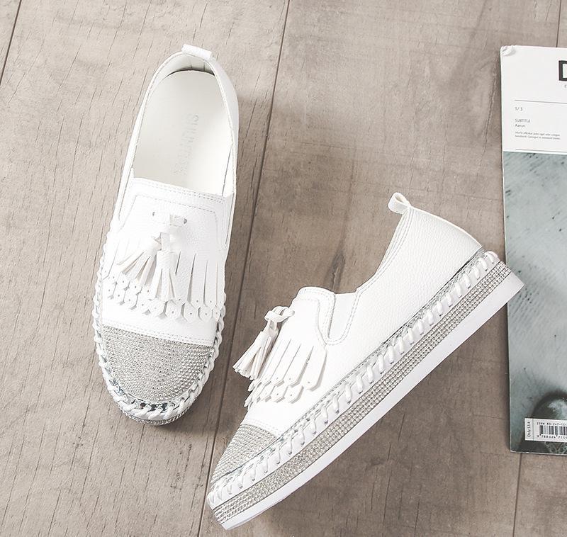 2019 Известные европейские Марка заплатки эспадрильи обувь Женщина из натуральной кожи лианы Flats Дамы Мокасины белые кожаные Мокасины