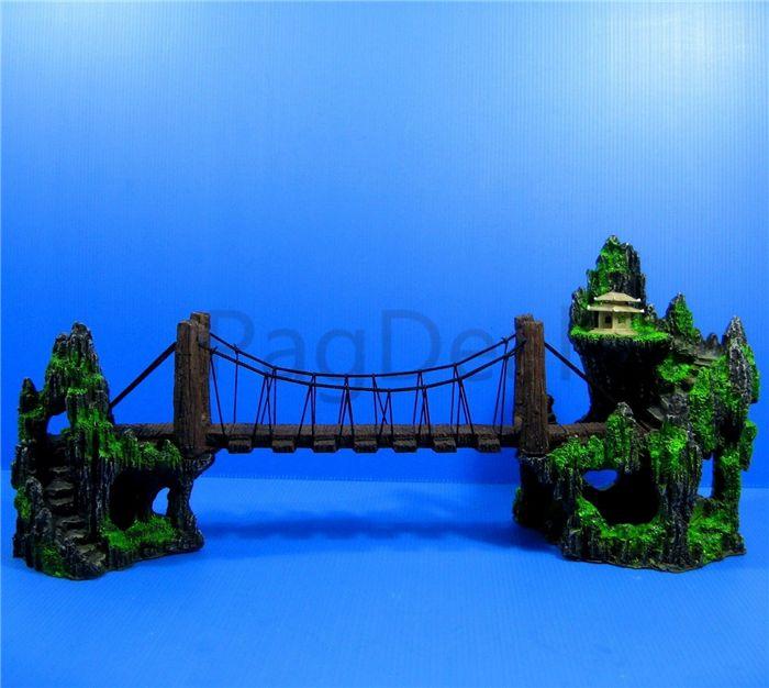"""L26CM 10.2 """" Аквариум Гора разводной мост вид украшения Холм подвесной мост вид украшения смолы Аквариум украшения большой"""