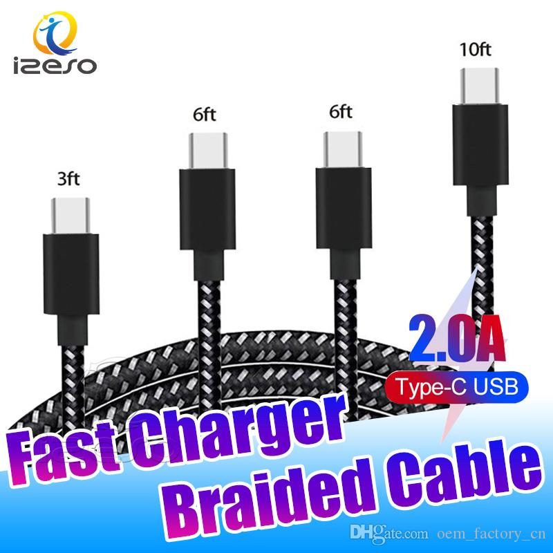 Micro V8 Nylon Braided Cable Fast Charging Sync Data Line 3ft 6ft USB Type C High Speed Charger Cord with Retail Packaging izeso