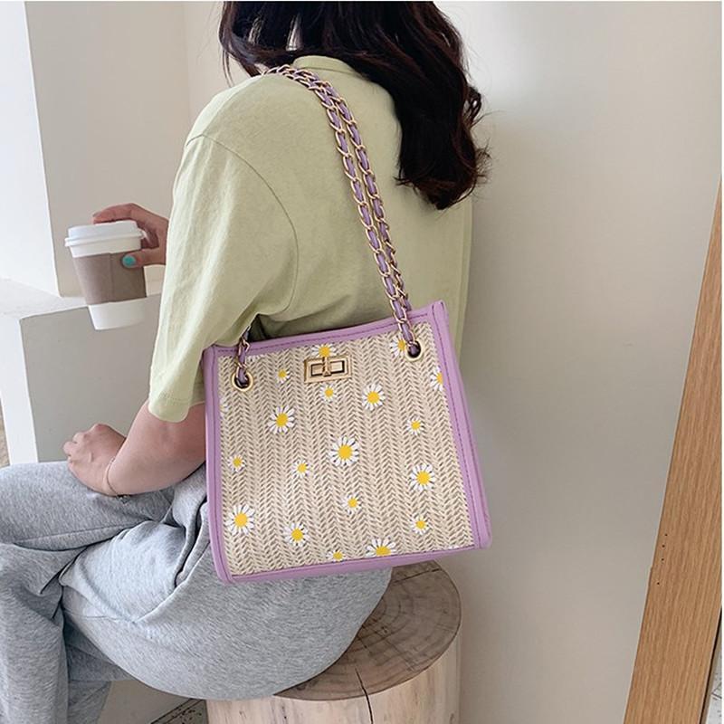 Feminino grandes Weave flor Bandoleira Sacos para mulheres 2020 ombro Messenger Bag Ladies mão Sling Bolsas