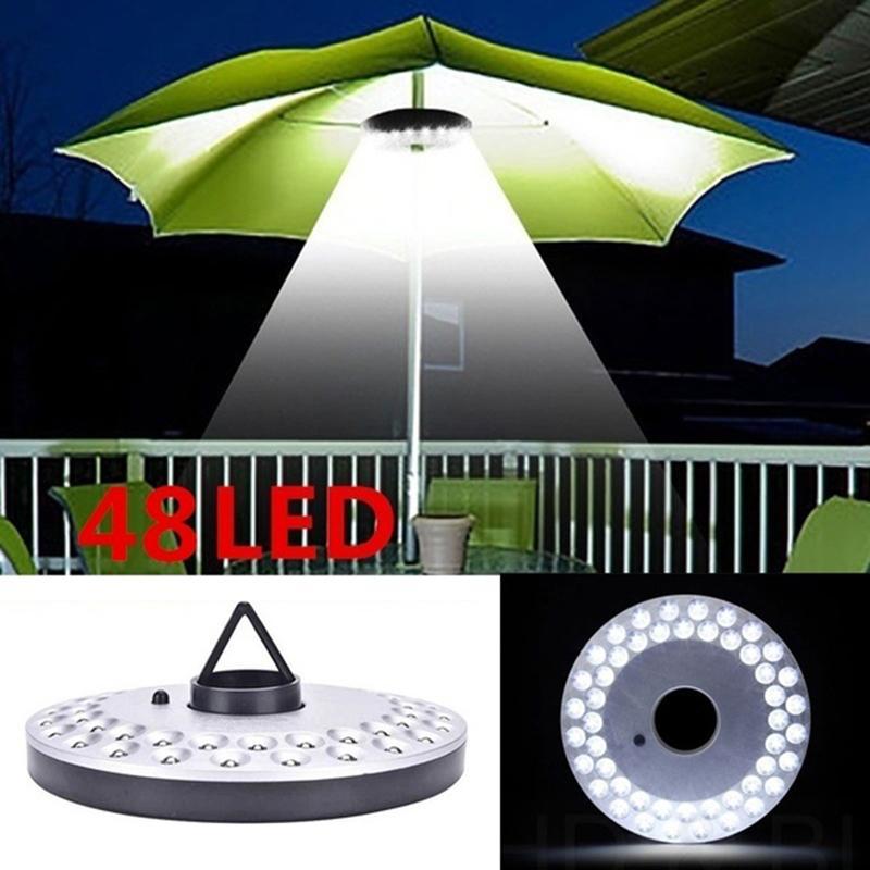 48 LED Linterna postes ligeros del paraguas portátil camping al aire libre Luz de trabajo Lámpara Para Tienda de la playa Patio jardín de la emergencia de las luces con pilas
