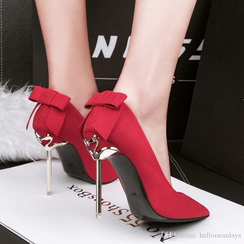 Womens High Heels Pointed Toe Pumps Bowtie Back Ankle Buckle Strap Dress Shoes