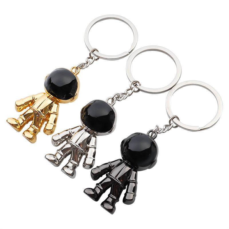 موضة الذهب رائد الفضاء الحلي الشخصية للجنسين سلسلة المفاتيح قلادة ترويج مفتاح السيارة اكسسوارات إعلان هدية مفتاح الطوق رجال نساء